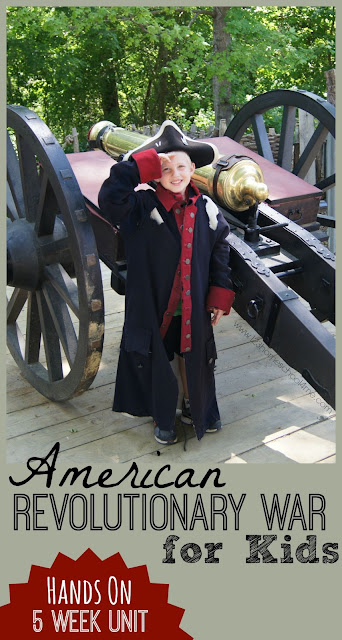 American Revolutionary War for Kids - 5 week hands on unit filled with fun history projects, free printable lapbook with timeline and important people, book recommendations and lots more! K-8th grade