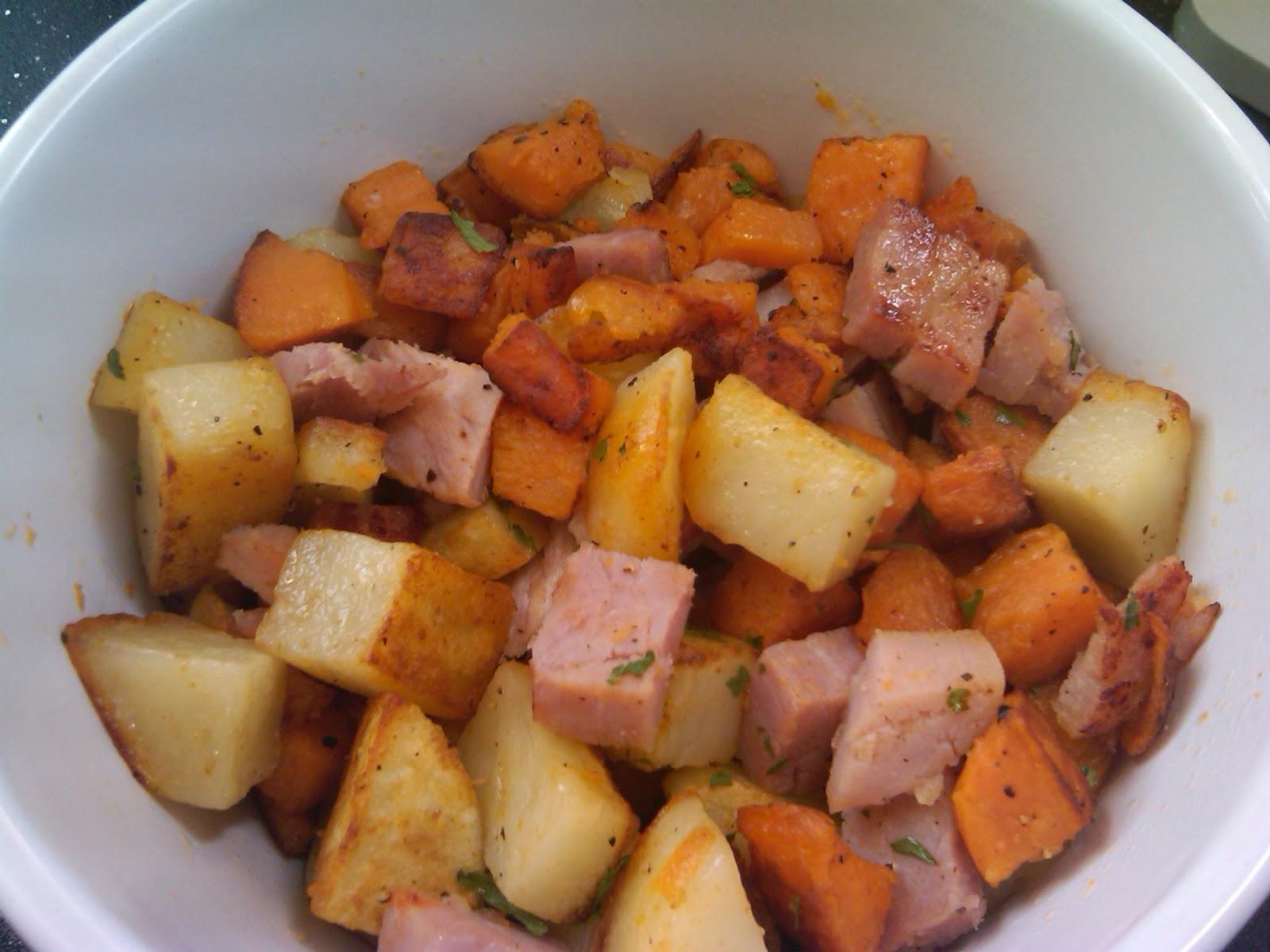 ham potatoes hash 1 sweet potato peeled and cubed 2