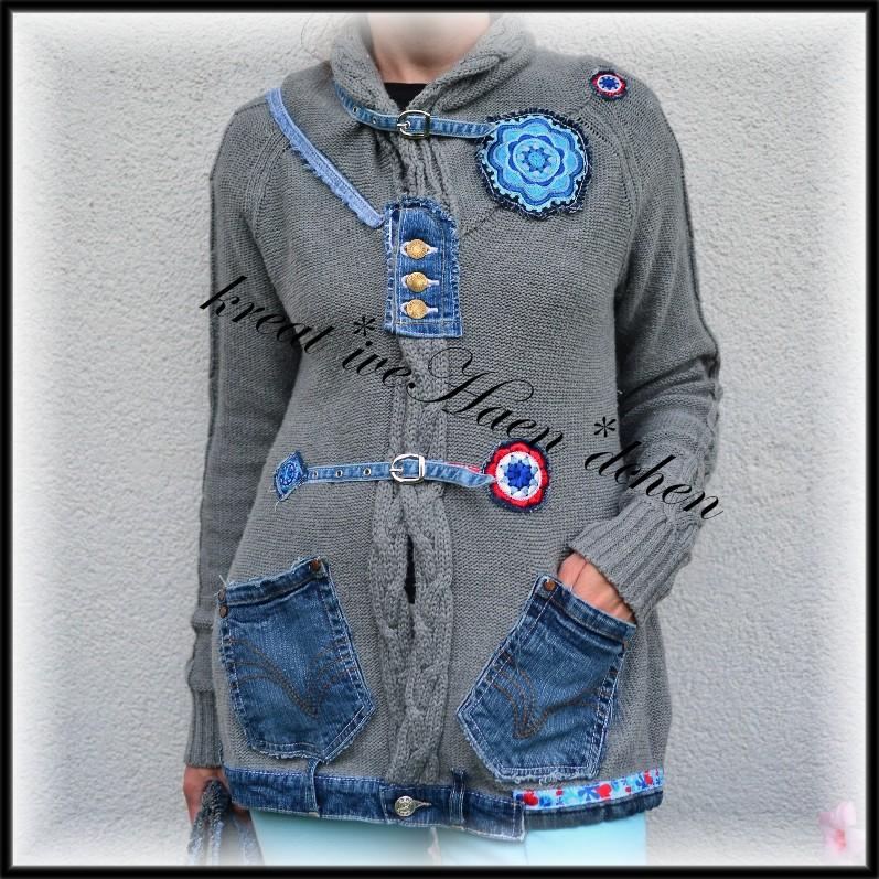 tolle ideen strickjacken upcycling mit jeans und crochet. Black Bedroom Furniture Sets. Home Design Ideas