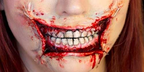 trucos maquillaje halloween boca grapada