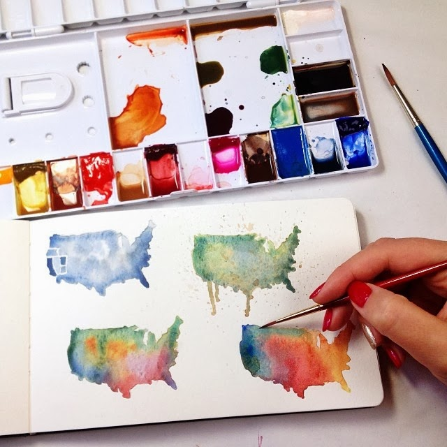 Watercolor map of america / usa sketches by Brown Paper Bunny Jessica Mack