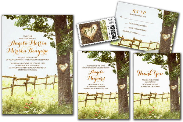 Rustic Country Heart Tree Wedding Invitations