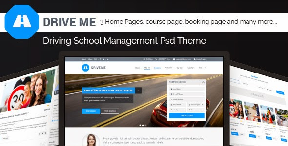 Drive Me - Driving School Management PSD Theme