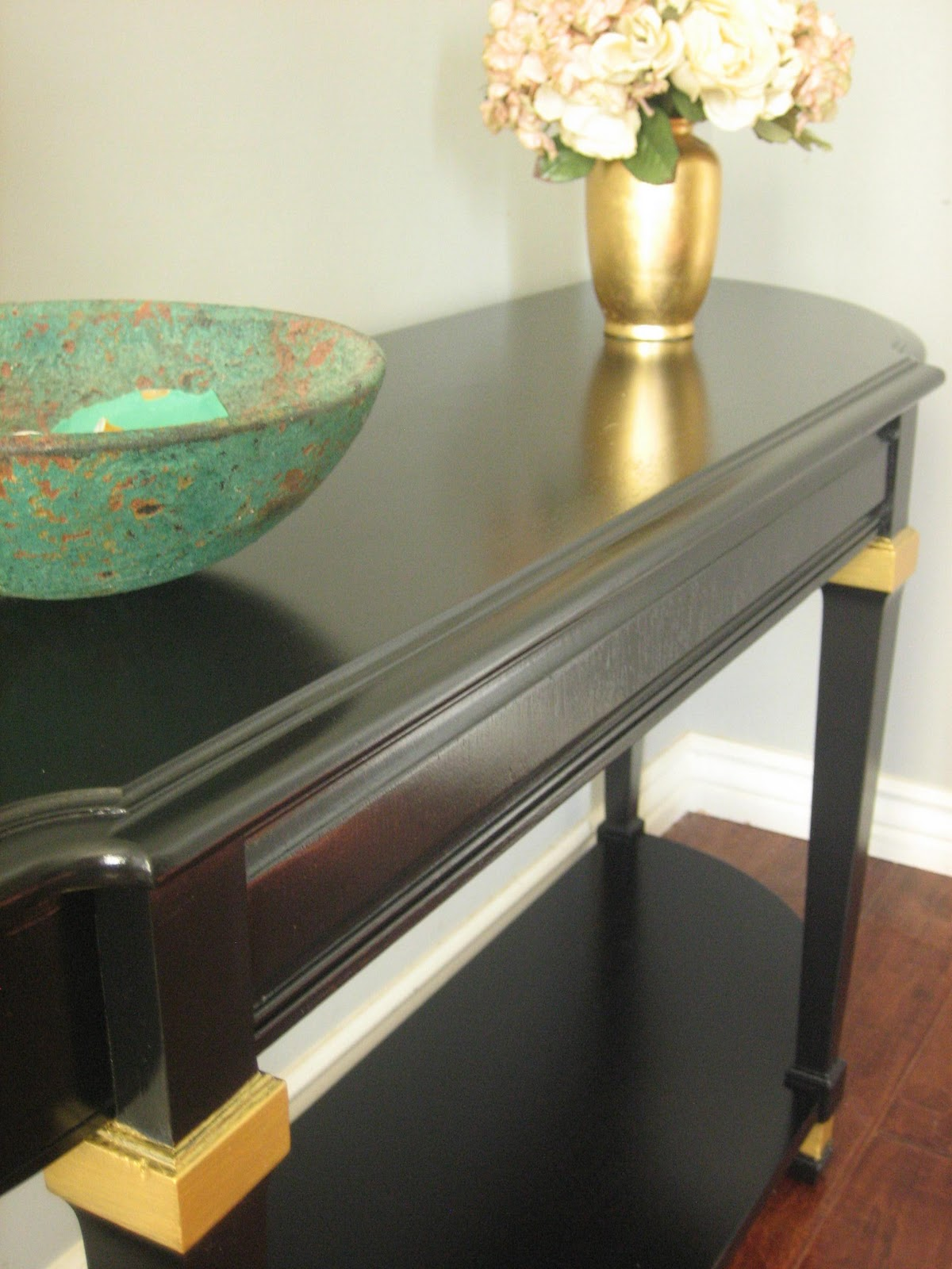 Hollywood Regency Console Table. Solid Wood By Lane. Sleek Black Finish  Accented With Gold. Has A Bottom Shelf. Use As A Console, Sofa Table Or ...