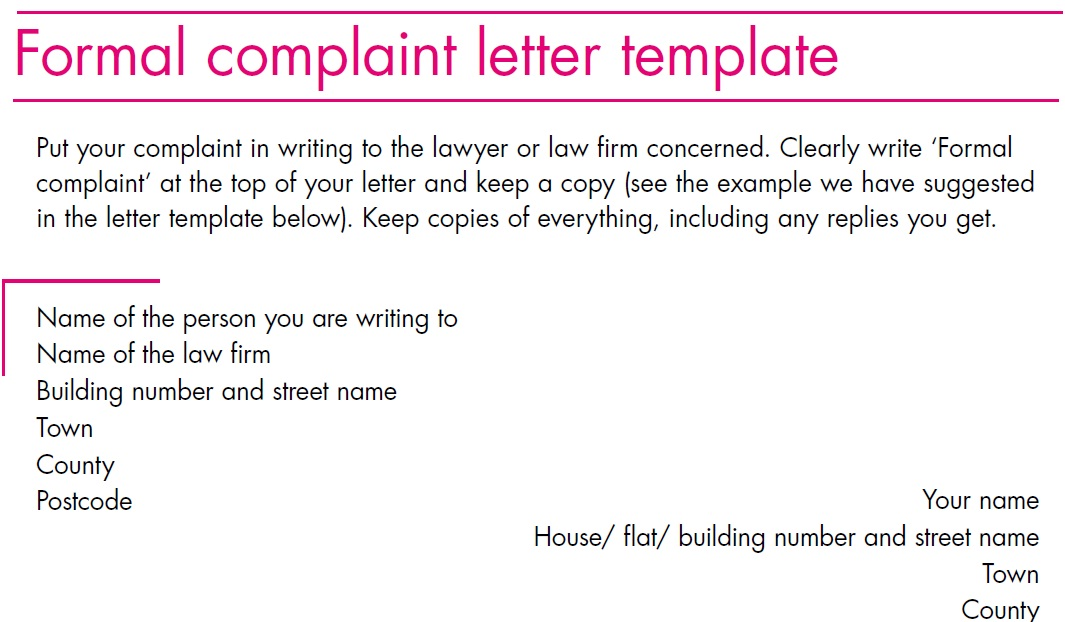Complaint letter template october 2012 for Formal letter of complaint to employer template