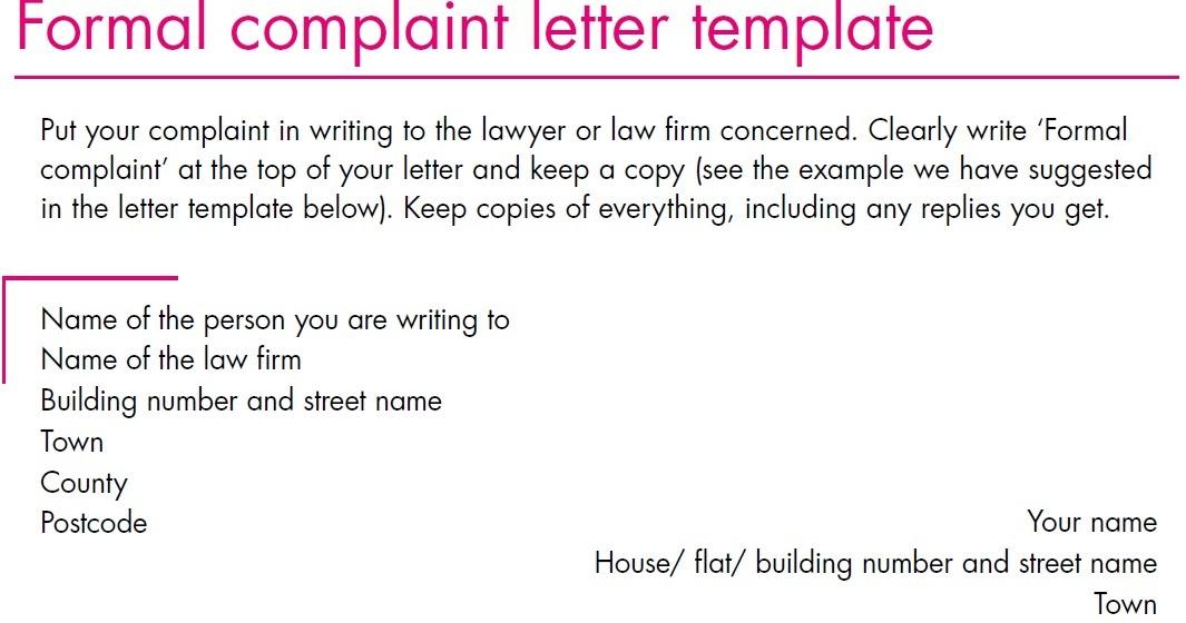 Complaint Letter Template: Formal Complaint Letter Template