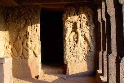 A photograph of the carvings at Bhaja Caves in Pune, India