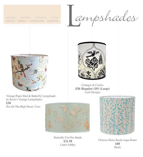 A selection of lampshades, Fabrics, Patterns and Prints