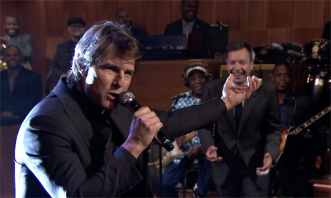 Tom Cruise gives serious face in epic lip sync battle with Jimmy Fallon on The Tonight Show