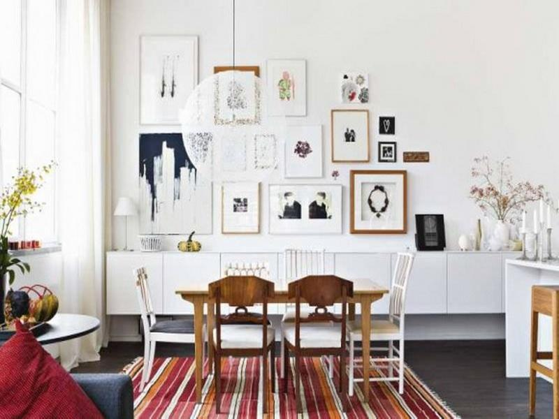 dining room scandinavian layout interior with wiiden dining table also chairs also stripe carpet also photo frames and painting also window and curtain also awesome scandinavian ideas