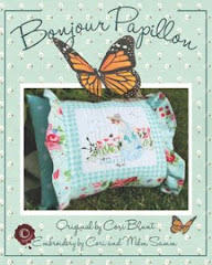 Pillow slip Pattern ( embroidery and applique) called Hello Butterfly in French