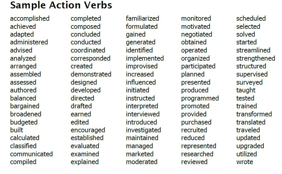 Action Verb Examples for Resume