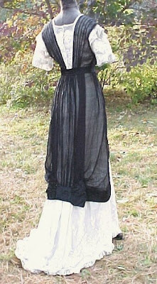 black and white Edwardian (1912) period tea dress I used for inspiration, back view