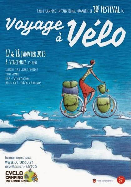 """""""Le voyageur couché"""" était présent lors du """"Festival du voyage à vélo 2015""""."""