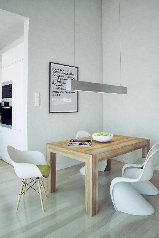 Ruang makan berlantai kayu blok