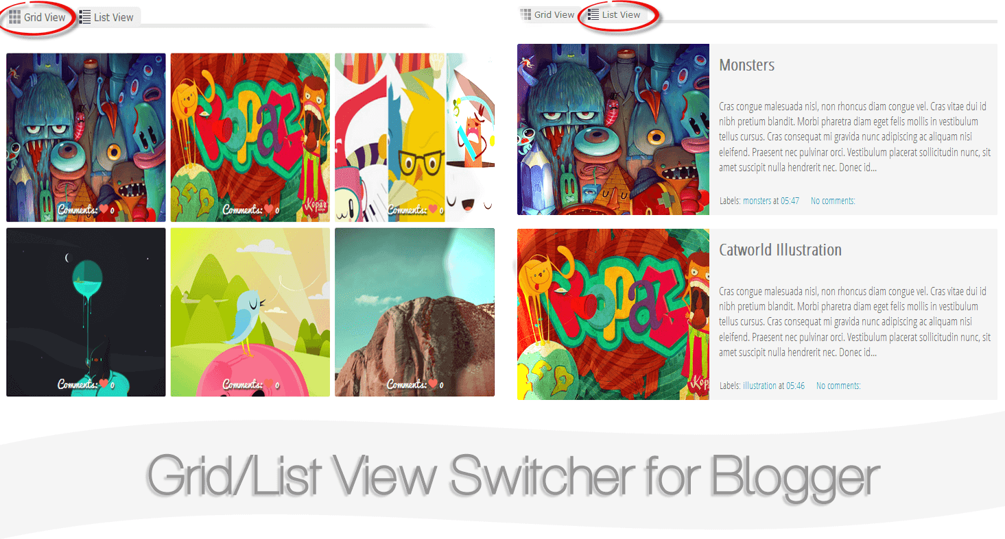 Create a List Grid View Switcher in Blogger with Auto Read More