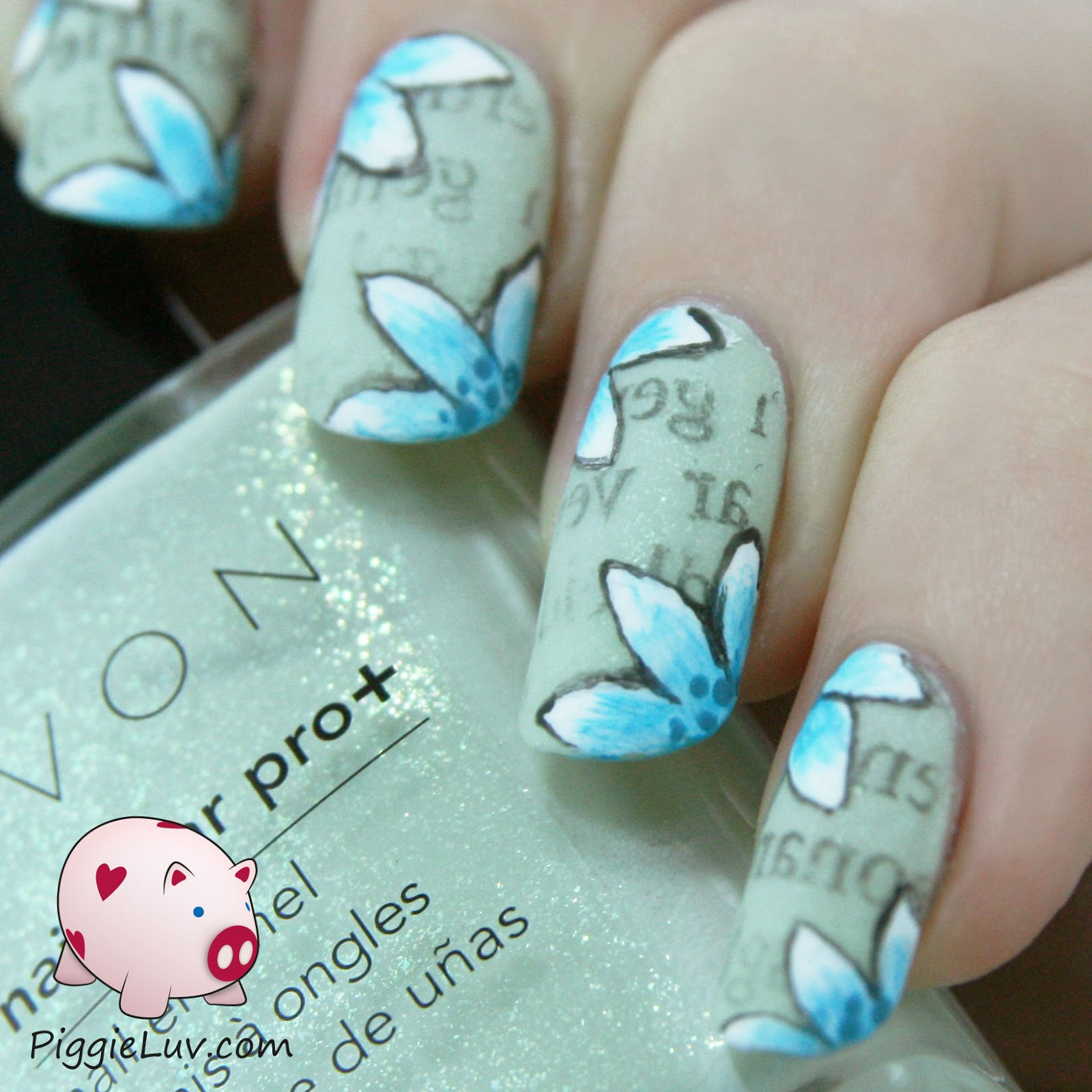 PiggieLuv: Newspaper nail art with florals