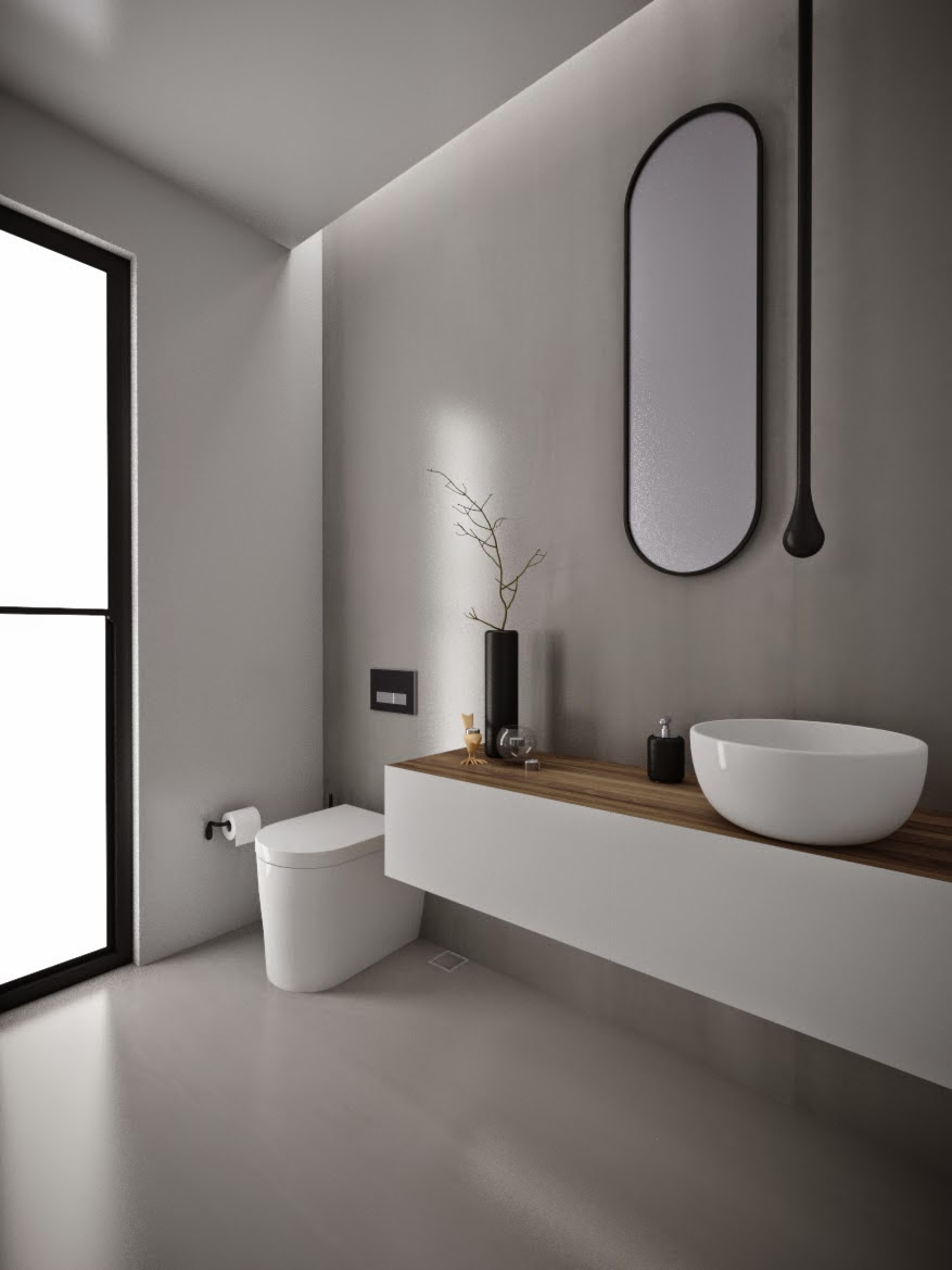 Minosa powder room something different is becoming normal for Bathroom modern design