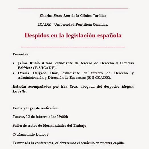 """""""Despidos en la legislación española"""", Charla-conferencia"""