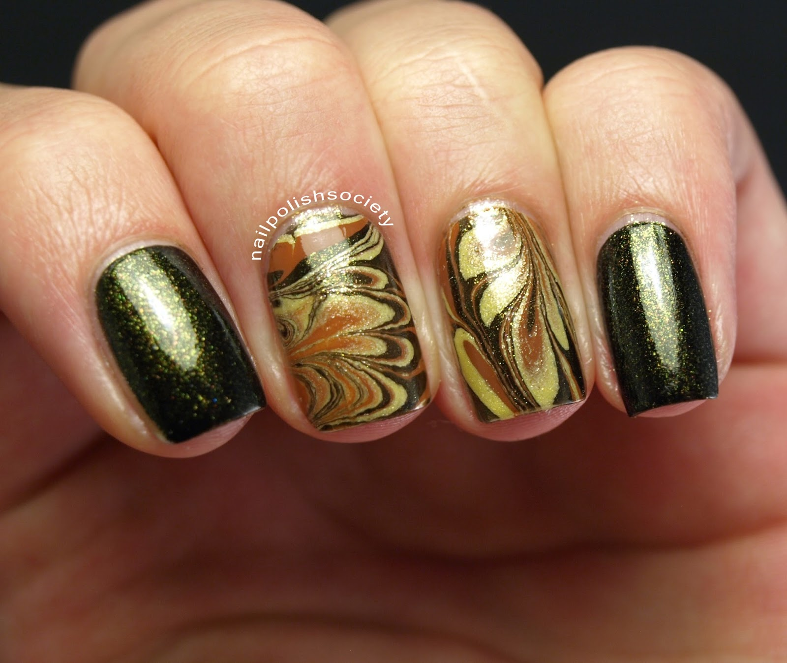 Nail Polish Society: Fall Harvest Water Marble
