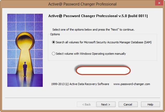 active password changer home screen