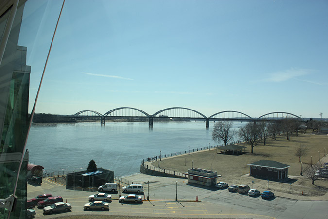 Photograph by Robin Peters of a series of looped bridges crossing the Mississippi River, Davenport, Iowa.