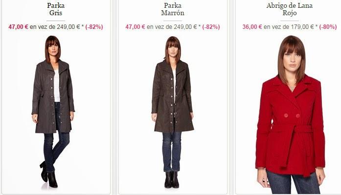 Ejemplos de parkas y de un abrigo de lana en rojo precioso
