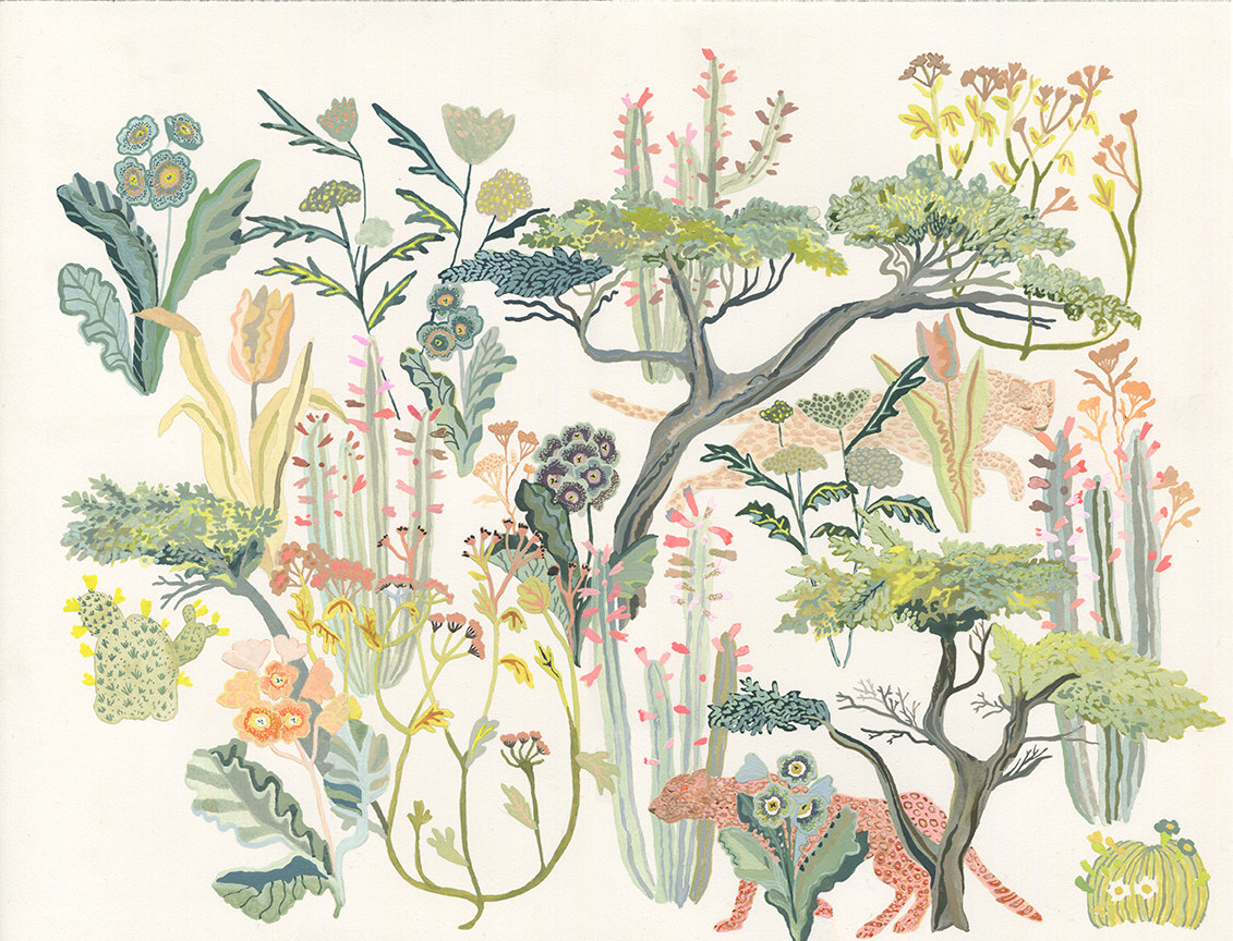 Cypress Trees, Cheetahs, and Primula by Michelle Morin
