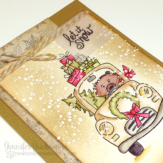 Let it snow Christmas Bear Card by Jennifer Jackson | Winston's Home for Christmas Stamp set by Newton's Nook Designs #newtonsnook