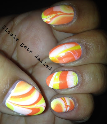 Halloween Water Marble Nail Art