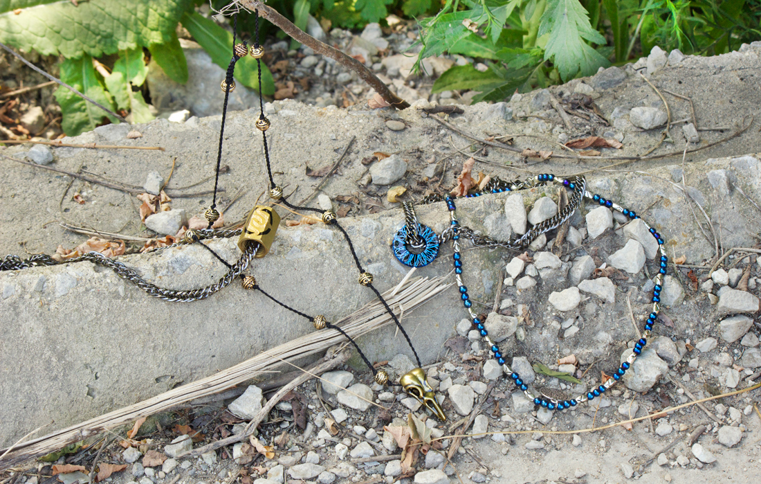 bohemian beaded gypsy necklaces for men by Quiet Lion Creations