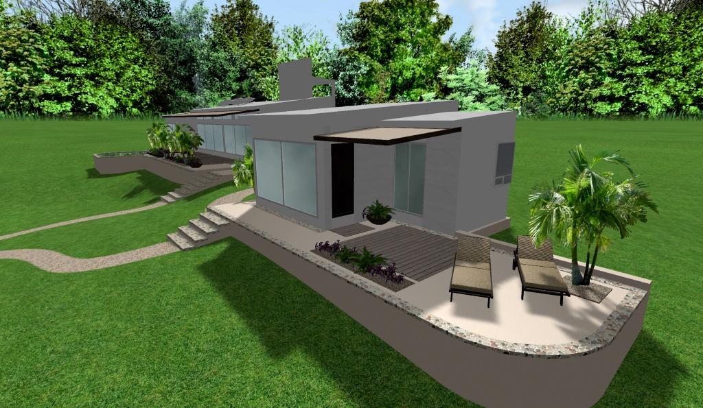 diseño de casas modernas, renders 3D de exteriores, vista lateral