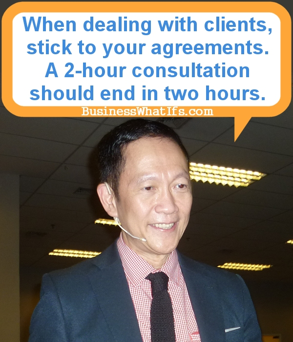 Francis Kong emphasizes the need to stick to your agreement.