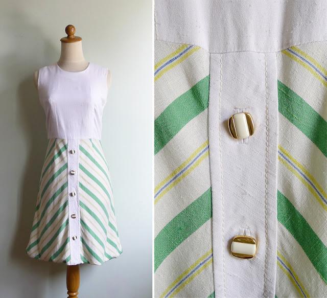 vintage linen chevron stripe dress