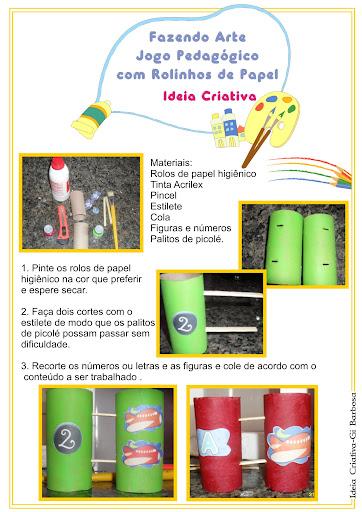 Jogo Pedagógico com Rolo de Papel Higiênico Reciclagem