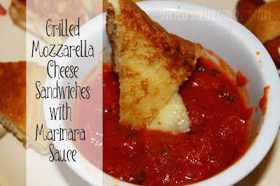 Grilled Mozzarella Cheese Sandwiches with Marinara Sauce #snackideas #partyfood