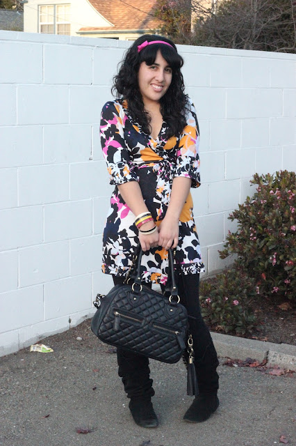 DVF Floral Tunic, Leggings, and Boots