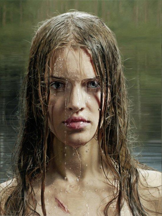 Philipp Weber pinturas hiper-realistas retratos mulheres