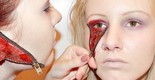 Halloween-Makeup-Verletzung-Reißverschluss