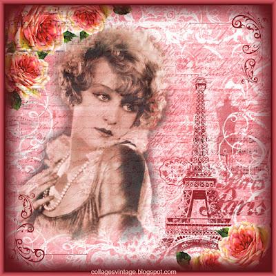 fondo vintage con chica antigua y torre Eiffel