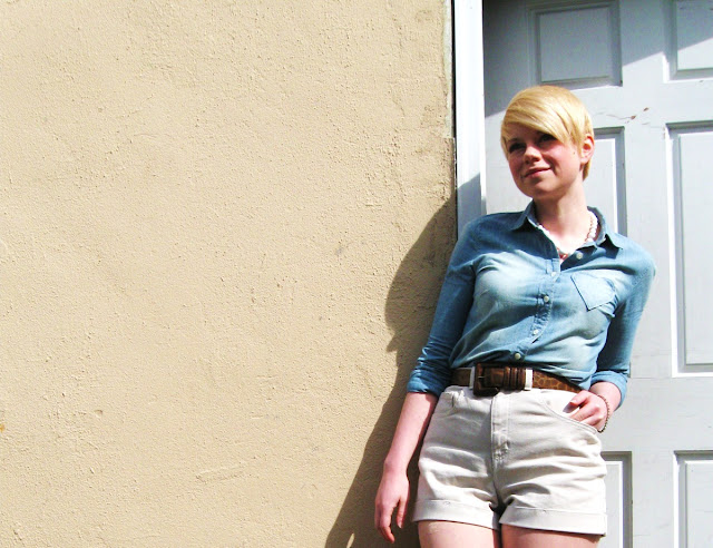 Seattle, American Apparel, denim shorts, chambray, j.crew, street style, spring fashion, blonde