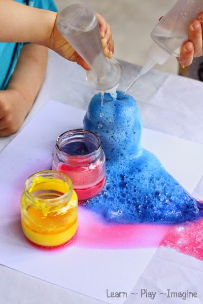 Gorgeous art eruptions for kids - color mixing science and art in one!