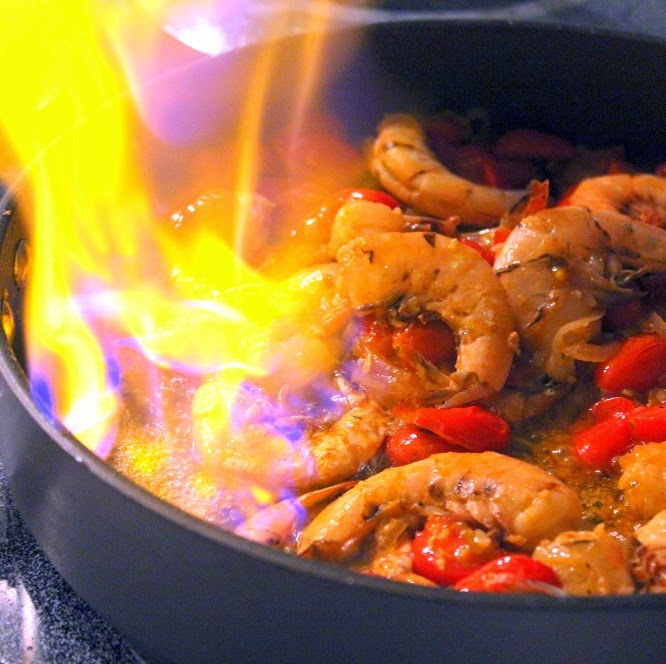 52 ways to cook flaming shrimp gambas flambees with sambuca via a day three of my dinner party review forumfinder Images