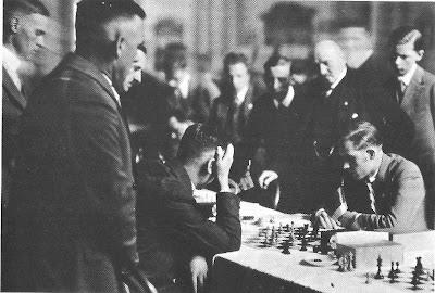 Partida de ajedrez Ángel Ribera contra Richter en la Olimpíada de Hamburgo de 1930