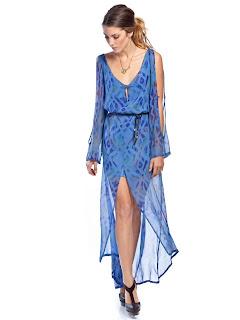 mavi yırtmaçlı elbise