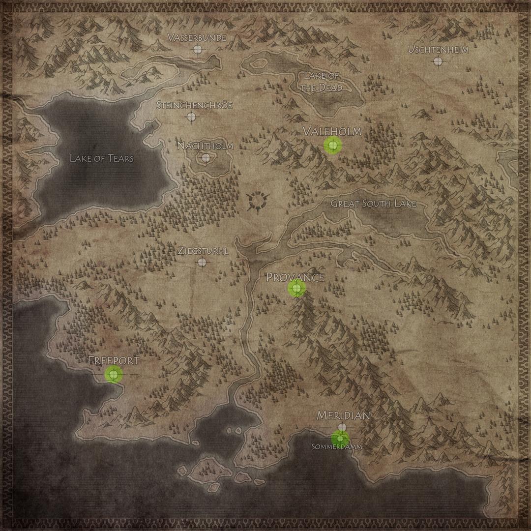Mapa parcial de Nosgoth con las principales ciudades humanas