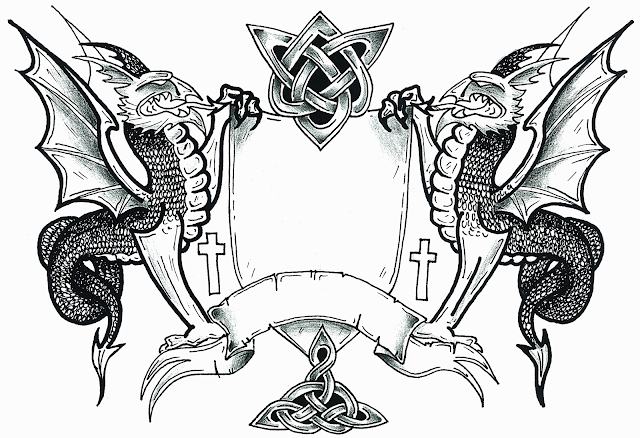 Dragon Coat Of Arms Template Blank shield and banner allows