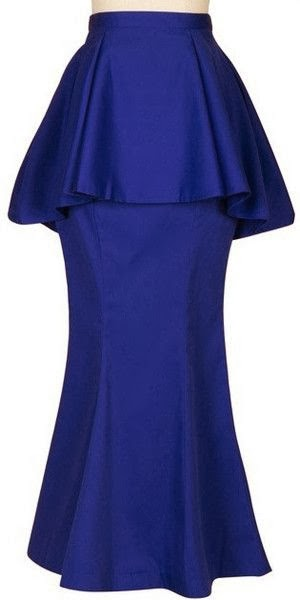 Modest maxi peplum skirt in cobalt