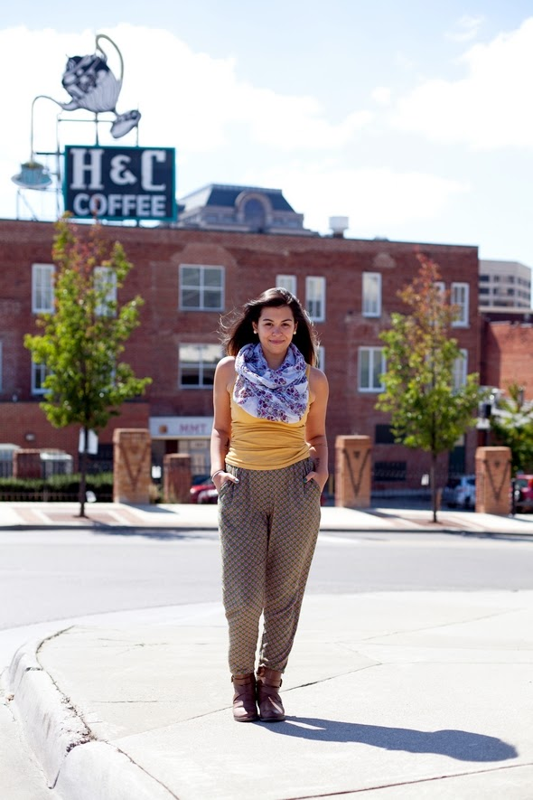 scarves tank tops pattern pants boots southern street style roanoke fashion, pleated pants on women, scarves, fall scarves, southern street style southern fashion, roanoke fashion 2013