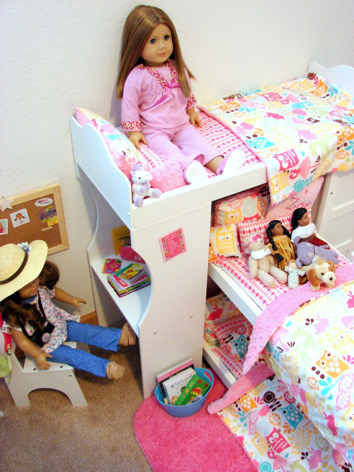 American girl doll play our doll play area the doll bedroom for Stuff for girls room